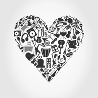 Musical heart3. Heart made of musical instruments. A vector illustration