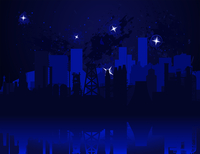 Night city3. Kind of a night city and star over it. A vector illustration