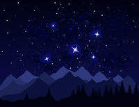 Night in mountains. Galaxies and stars in space. A vector illustration