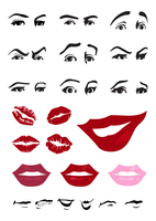 Parts of the person. Eyes and lips of the person. A vector illustration