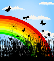 Rainbow3. Insects have woken up in the spring. A vector illustration