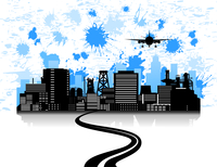 Road to a city. Road to a city and the plane over it. A vector illustration