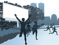 Run in the street. Employment of people by run in a city. A vector illustration