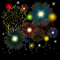 Salute. Celebratory salute in the night sky. A vector illustration 60016023516| 写真素材・ストックフォト・画像・イラスト素材|アマナイメージズ