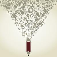 The pencil writes a science. A vector illustration 60016023532  写真素材・ストックフォト・画像・イラスト素材 アマナイメージズ