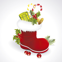Red Santa's boot with giftbag isolated on white background 60016023937| 写真素材・ストックフォト・画像・イラスト素材|アマナイメージズ