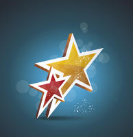 Two gold stars. 100% satisfaction guarantee. Vector cinema background.