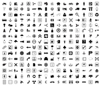 Signs. Collection of icons of black colour. A vector illustration
