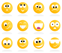 smile3. Set of cheerful and sad smiles. A vector illustration