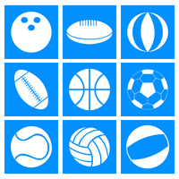 Sports balls. Set of balls for different kinds of sports. A vector illustration