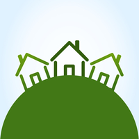 Three houses. Three houses on a green hill. A vector illustration 60016024309| 写真素材・ストックフォト・画像・イラスト素材|アマナイメージズ