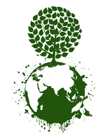 Green tree on a planet. A vector illustration