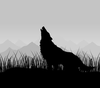 Wolf in mountains. The wolf howls in mountains in a fog. A vector illustration