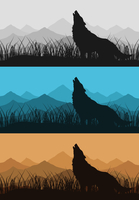 Wolf in mountains2. The wolf howls against mountain. A vector illustration