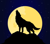 wolf4. The wolf howls on the moon at night. A vector illustration