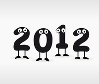2012. Figures with eyes in new year. A vector illustration