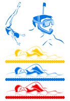 Aquatics. Sportsmen from water kinds of sports. A vector illustration