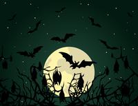 Bat. Bats at night over wood. A vector illustration 60016025083| 写真素材・ストックフォト・画像・イラスト素材|アマナイメージズ