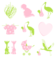 Birth icon. Set of icons on a children theme. A vector illustration