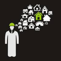 The builder thinks of houses. A vector illustration 60016025242  写真素材・ストックフォト・画像・イラスト素材 アマナイメージズ
