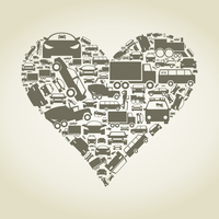 Heart made of cars. A vector illustration