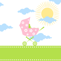 Carriage for children. Carriage for children with the kid inside. A vector illustration 60016025372| 写真素材・ストックフォト・画像・イラスト素材|アマナイメージズ