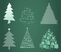 Celebratory tree4. Set of Christmas trees on a green background. A vector illustration the grey