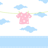 Children clothes. The children clothes hang on a cord. A vector illustration 60016025419| 写真素材・ストックフォト・画像・イラスト素材|アマナイメージズ