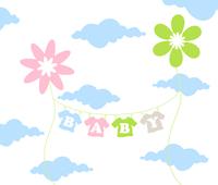 On a cord the children's clothes dry. A vector illustration 60016025420| 写真素材・ストックフォト・画像・イラスト素材|アマナイメージズ