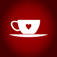 Cup with a heart on a red background