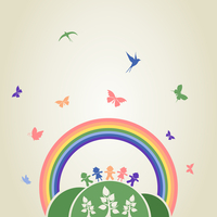 Children on a hill under a rainbow. A vector illustration