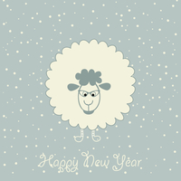 Christmas sheep on a blue background