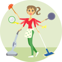 Housewife of all trades, washing and cleaning vector illustration