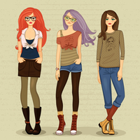 Set of modern girls vector illustration isolated