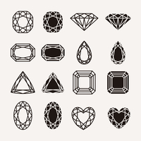 Diamond, gem, jewel icons set isolated vector illustration