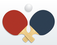 Two table tennis rackets and a ball vector illustration isolated