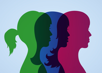 Best girlfriends three head silhouettes vector illustration