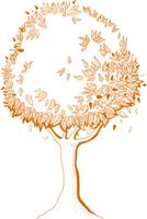 Autumn tree icon, symbol of nature vector illustration