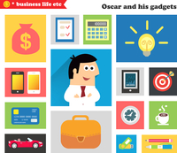 Business life. Business gadgets and stuff for everyday work in the office vector illustration 60016027486| 写真素材・ストックフォト・画像・イラスト素材|アマナイメージズ