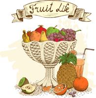Fruit vase with fresh juice still life vector illustration