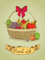 Fruit life gift basket with bow emblem vector illustration