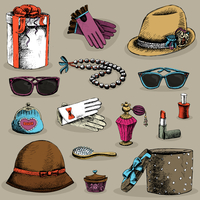 Women's accessories set of gloves glasses hat lipstick and perfume, decorative isolated vector illustration 60016027524| 写真素材・ストックフォト・画像・イラスト素材|アマナイメージズ