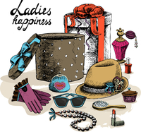 Ladies happiness. Women's accessories from open gift box still life vector illustration 60016027526| 写真素材・ストックフォト・画像・イラスト素材|アマナイメージズ