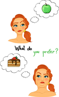 Fat and slim woman faces, choose the right diet, eat apples not pastries isolated vector illustration 60016027531| 写真素材・ストックフォト・画像・イラスト素材|アマナイメージズ