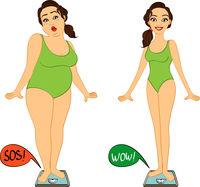 Fat and slim woman on weights scales, diet and exercises progress isolated vector illustration 60016027533| 写真素材・ストックフォト・画像・イラスト素材|アマナイメージズ