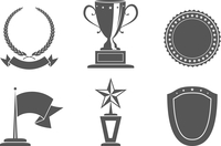 Recognition award prize badges set vector illustration