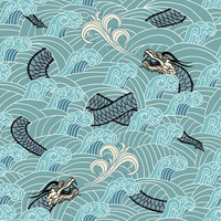 Asian seamless with dragon and waves vector illustration 60016027699  写真素材・ストックフォト・画像・イラスト素材 アマナイメージズ