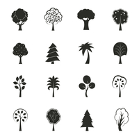 Abstract ecology growth icons set pine fir oak and other trees isolated vector illustration