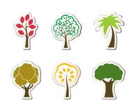 Tree symbols for green web design oak palm maple isolated vector illustration