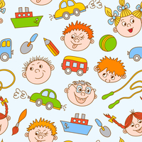 Seamless doodle smiling boys and girls with toys pattern vector illustration 60016027789| 写真素材・ストックフォト・画像・イラスト素材|アマナイメージズ